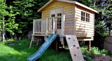 treehouse on stilts with slides