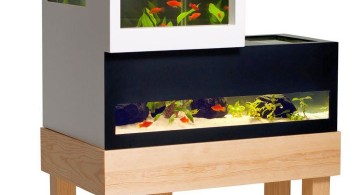 two tiered monochrome contemporary fish tank