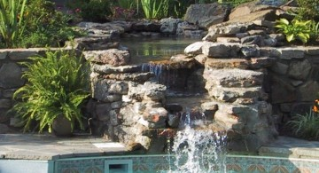 two tiered pool waterfall ideas