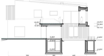 two villas side elevation plan