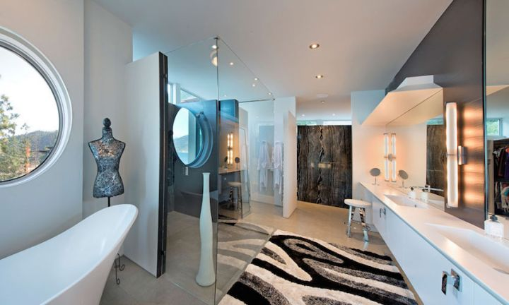 ultramodern lake house bathroom