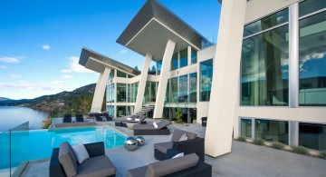 ultramodern lake house front facade and pool