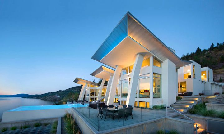 ultramodern lake house front facade