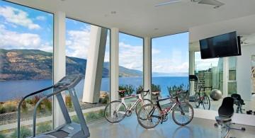 ultramodern lake house home gym