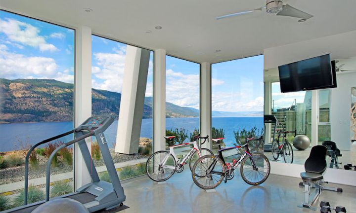 ultramodern lake house home gym
