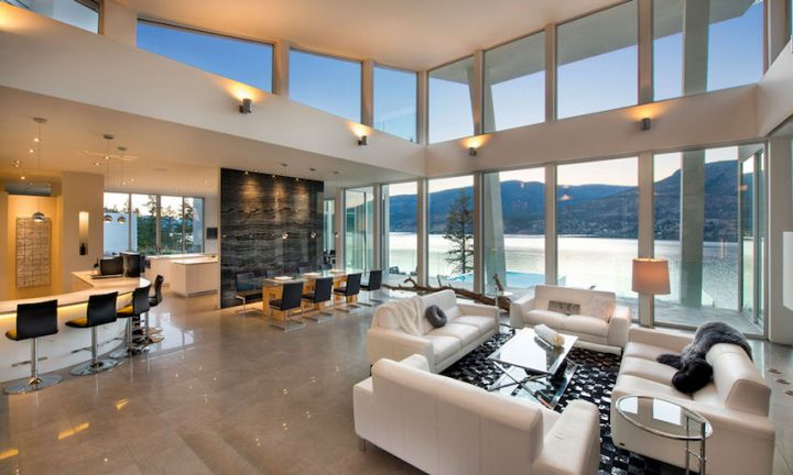 ultramodern lake house interior