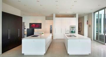 ultramodern lake house kitchen area
