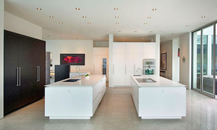 ultramodern lake house kitchen area