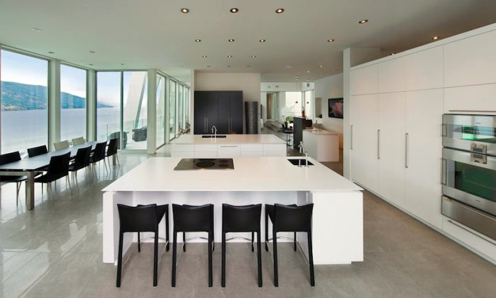 ultramodern lake house kitchen bar sitting