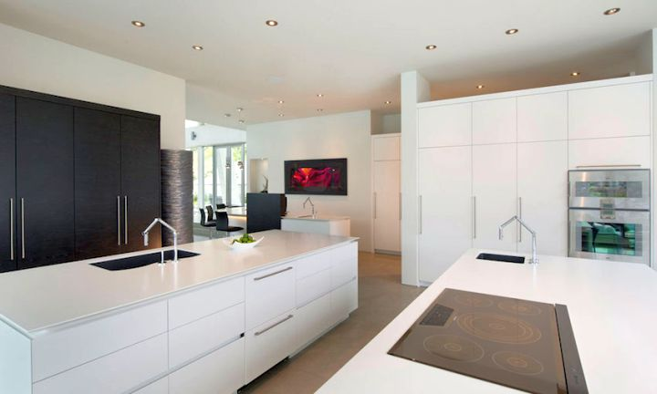ultramodern lake house kitchen island