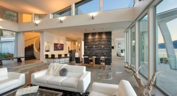ultramodern lake house living room
