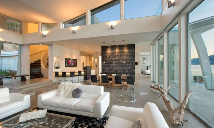 ultramodern lake house living room