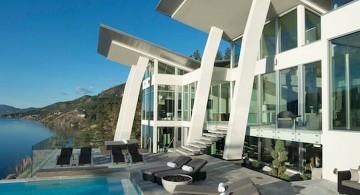 ultramodern lake house pool side facade
