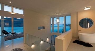 ultramodern lake house second floor