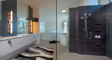 ultramodern lake house shower black tile