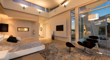 ultramodern lake house view from master bedroom