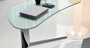 unique shaped clear office desk