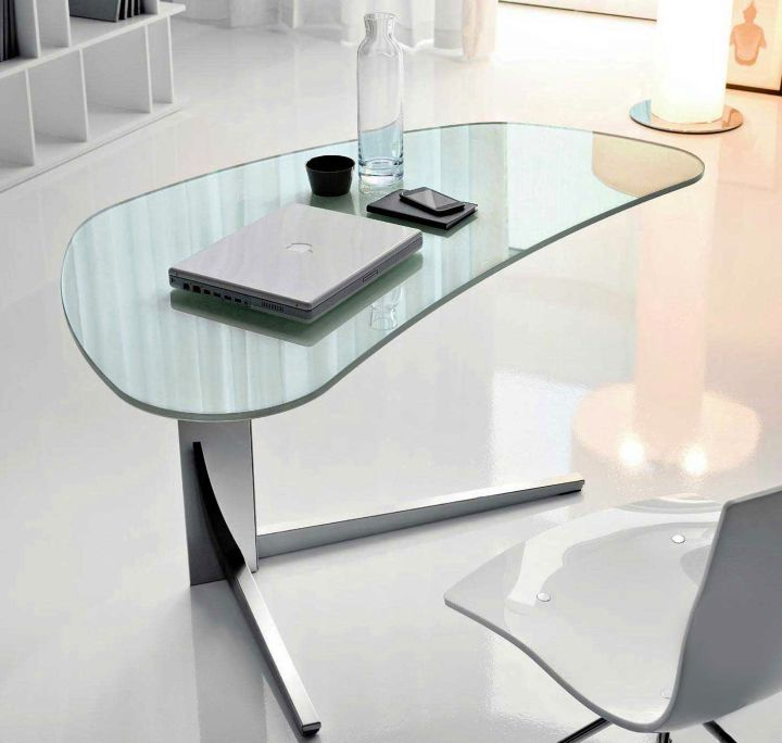 unique shaped clear office desk