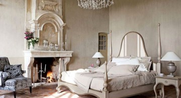 vintage bedroom decoration ideas in white with chandelier