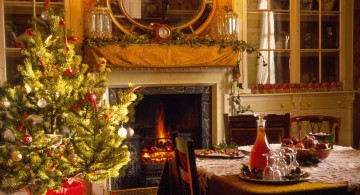 warm christmas room with fireplace