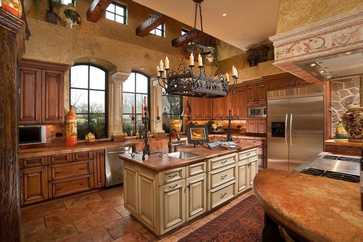 warm with tall ceiling mediterranean kitchen designs