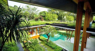 water lily house pool view