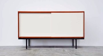 white lacquer credenza with red lines