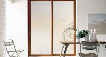 wood lined modern glass door