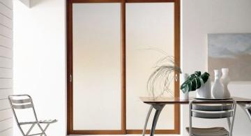 wood lined modern glass door
