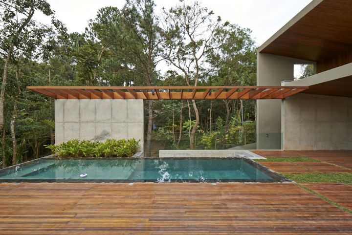 wood pool deck with patio