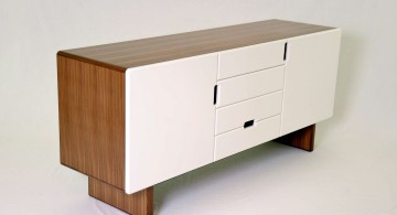 wood stand white lacquer credenza