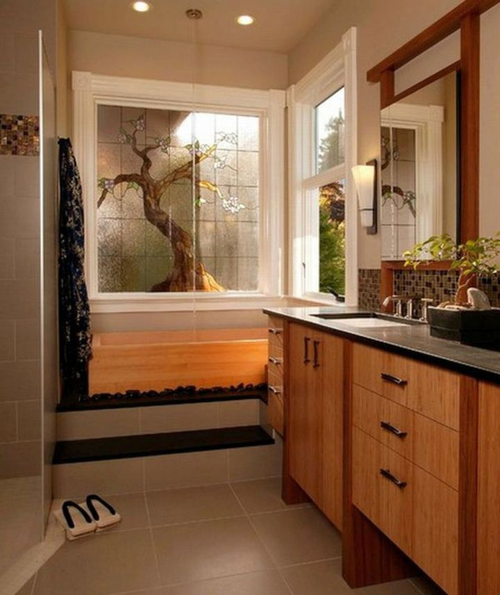 Japanese bathroom designs with bamboo furniture