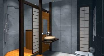 Japanese bathroom designs with paper doors