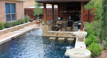 L shaped swimming pools for small spaces with seating area