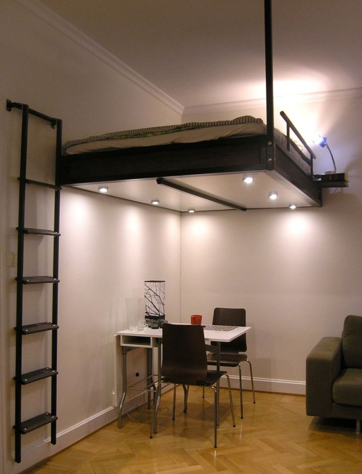 adult loft beds with desk in black with stairs mounted to the wall