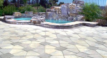 art deco paved pool deck stone