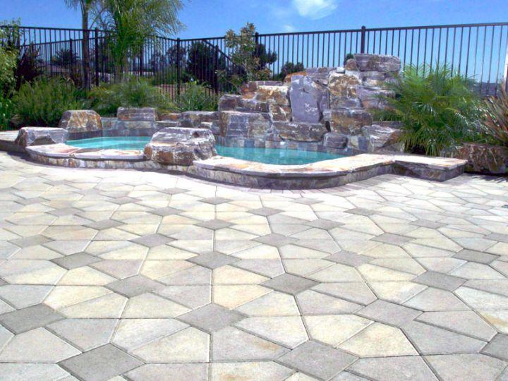 Swimming Pool Stone Sealer : Art deco paved pool deck stone