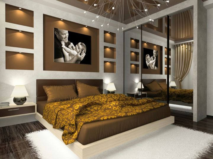 bachelor bedroom decorating ideas with mirrored wall