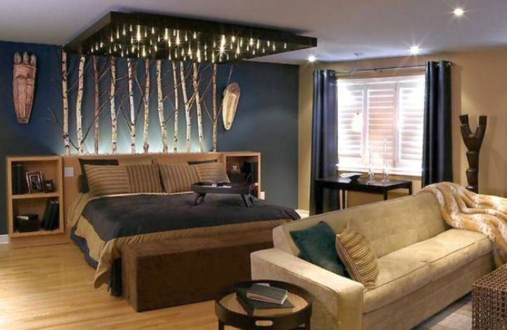 Bachelor bedroom decorating ideas with unique canopy for Living room designs for bachelors