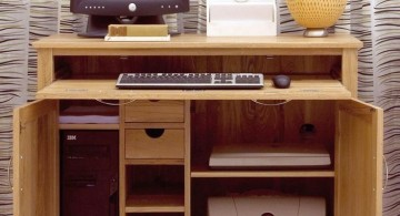 basic hideaway desk designs for computer with printer shelf at the bottom