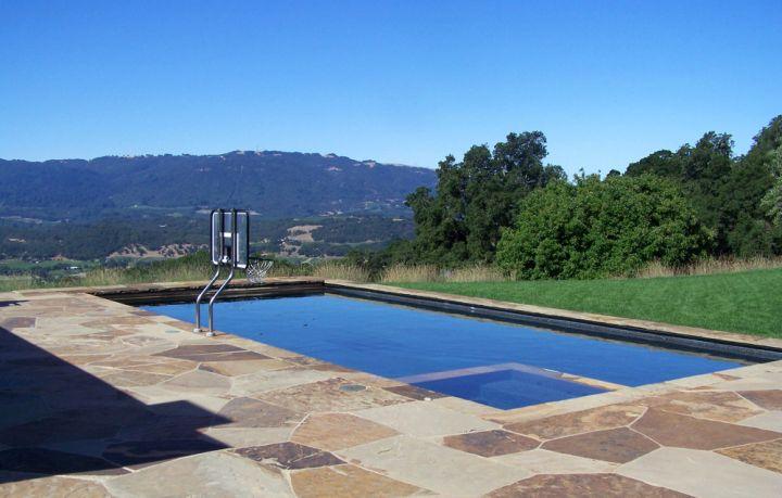 beige marble pool deck stone