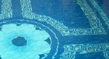 best pool tile with big flower pattern