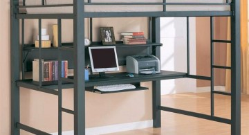 blue adult loft beds with desk