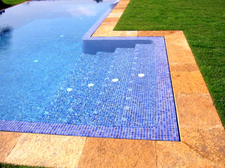 Blue mosaic best pool tile for Pool tile designs