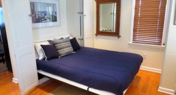 blue murphy bed couch ideas for small space