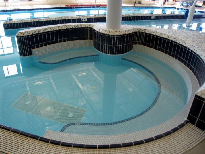 blue white and black mosaic tiles best pool tile