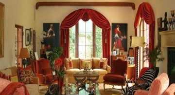 bold tuscan living room colors with bright red