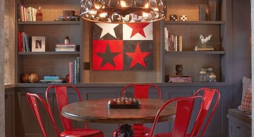 bookshelves in dining room with red dining chairs