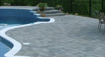 brick paved pool deck stone with thin linings