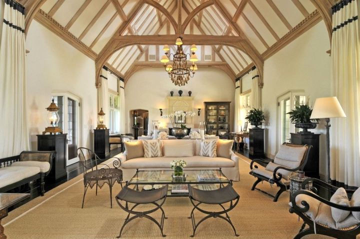 cathedral ceiling living room with unique beams placement